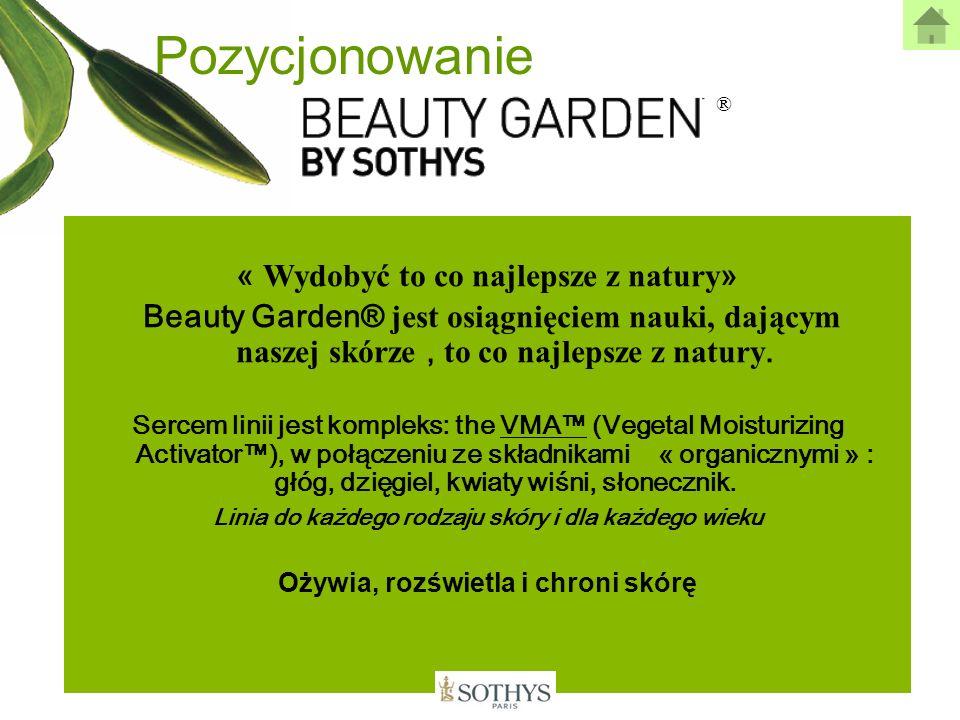 ® Pozycjonowanie « Wydobyć to co najlepsze z natury » Beauty Garden® jest osiągnięciem nauki, dającym naszej skórze, to co najlepsze z natury. Sercem