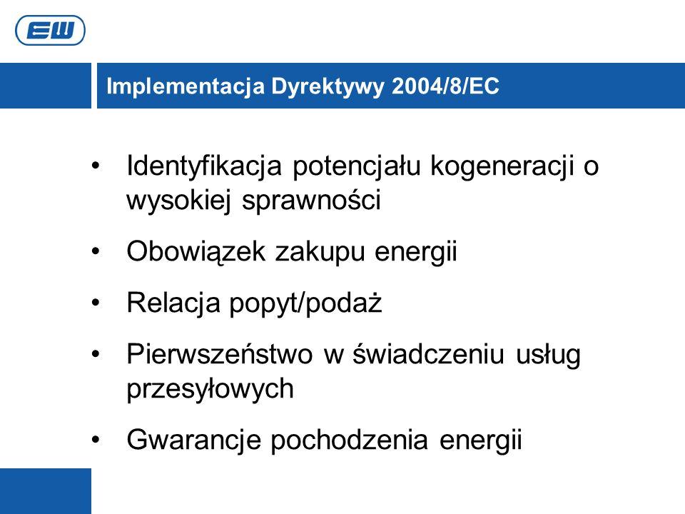 Implementacja Dyrektywy 2004/8/EC Identyfikacja potencjału kogeneracji o wysokiej sprawności Obowiązek zakupu energii Relacja popyt/podaż Pierwszeństw