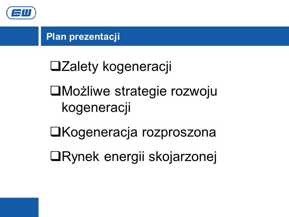 Plan prezentacji Zalety kogeneracji Możliwe strategie rozwoju kogeneracji Kogeneracja rozproszona Rynek energii skojarzonej