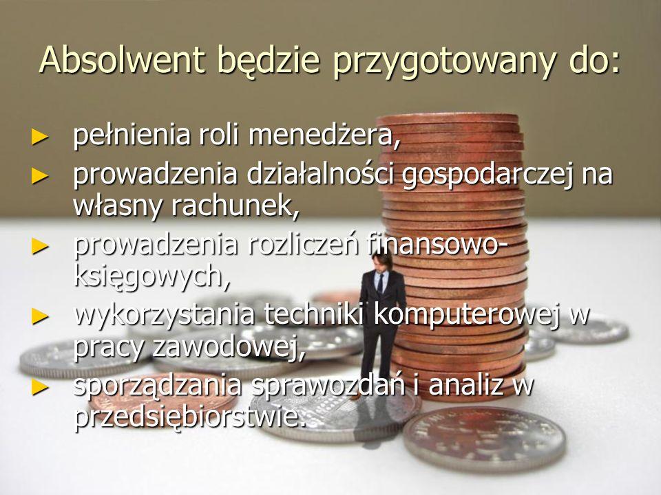 Absolwent będzie przygotowany do: pełnienia roli menedżera, pełnienia roli menedżera, prowadzenia działalności gospodarczej na własny rachunek, prowad