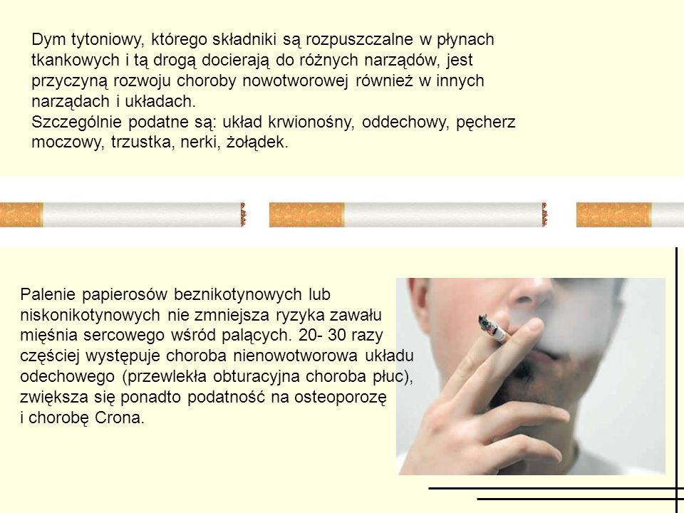 Palenie papierosów beznikotynowych lub niskonikotynowych nie zmniejsza ryzyka zawału mięśnia sercowego wśród palących. 20- 30 razy częściej występuje