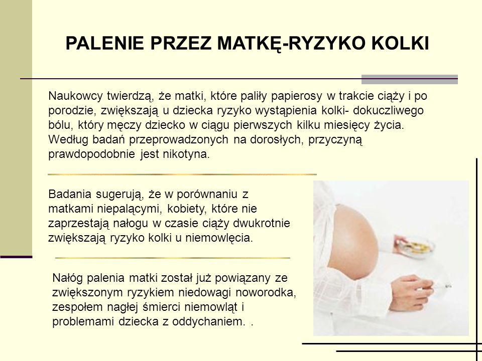 PALENIE PRZEZ MATKĘ-RYZYKO KOLKI Naukowcy twierdzą, że matki, które paliły papierosy w trakcie ciąży i po porodzie, zwiększają u dziecka ryzyko wystąpienia kolki- dokuczliwego bólu, który męczy dziecko w ciągu pierwszych kilku miesięcy życia.