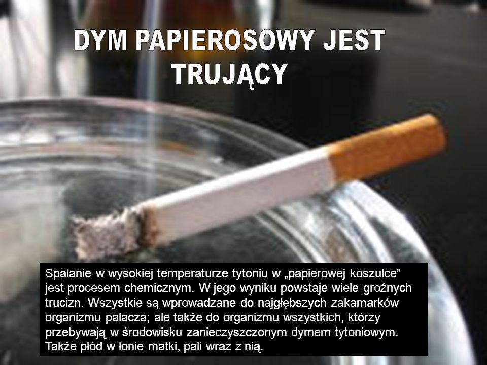 Dym tytoniowy jest trujący Spalanie w wysokiej temperaturze tytoniu w papierowej koszulce jest procesem chemicznym. W jego wyniku powstaje wiele groźn