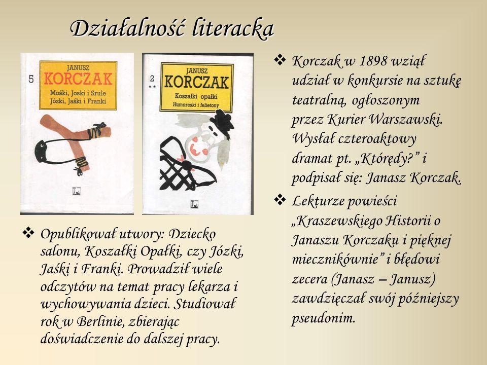 Działalność literacka Opublikował utwory: Dziecko salonu, Koszałki Opałki, czy Józki, Jaśki i Franki. Prowadził wiele odczytów na temat pracy lekarza