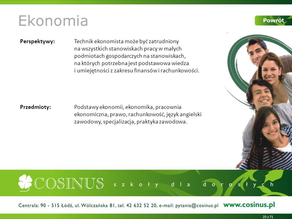Ekonomia Perspektywy: Technik ekonomista może być zatrudniony na wszystkich stanowiskach pracy w małych podmiotach gospodarczych na stanowiskach, na k