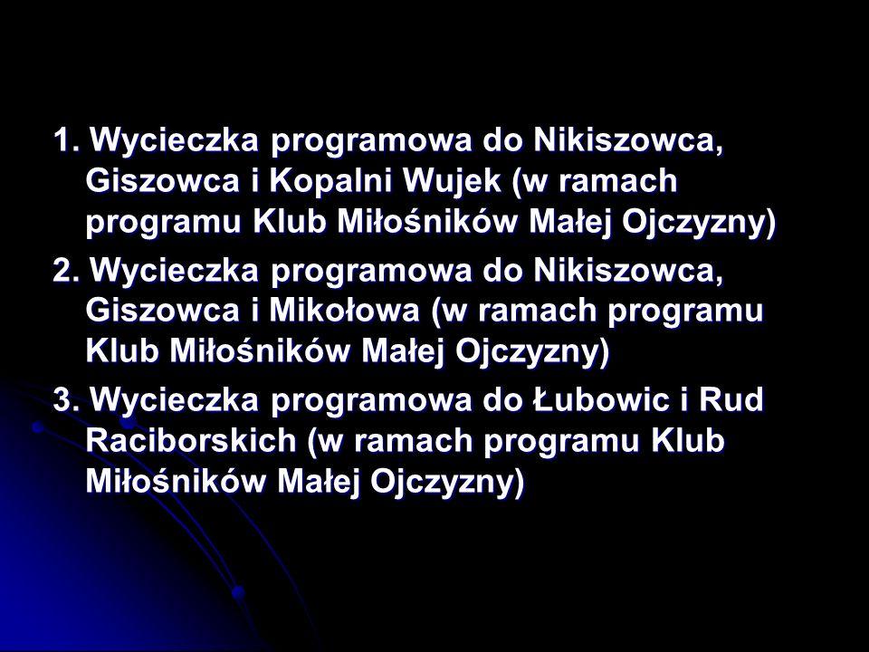 1. Wycieczka programowa do Nikiszowca, Giszowca i Kopalni Wujek (w ramach programu Klub Miłośników Małej Ojczyzny) 2. Wycieczka programowa do Nikiszow