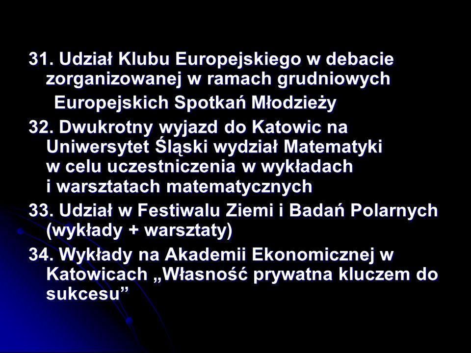 31. Udział Klubu Europejskiego w debacie zorganizowanej w ramach grudniowych Europejskich Spotkań Młodzieży Europejskich Spotkań Młodzieży 32. Dwukrot