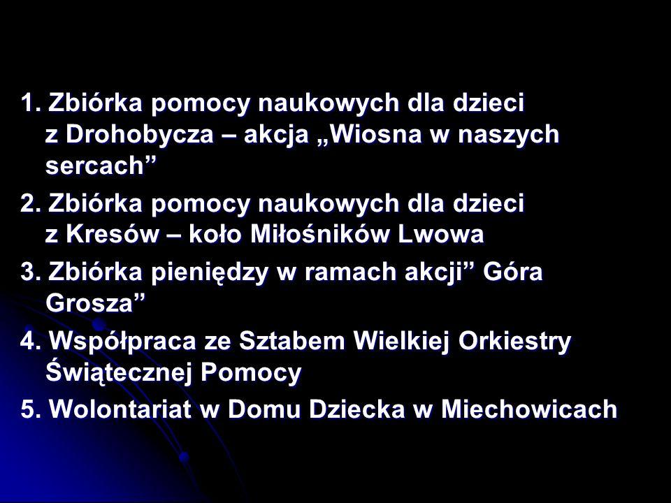 1.Zbiórka pomocy naukowych dla dzieci z Drohobycza – akcja Wiosna w naszych sercach 2.