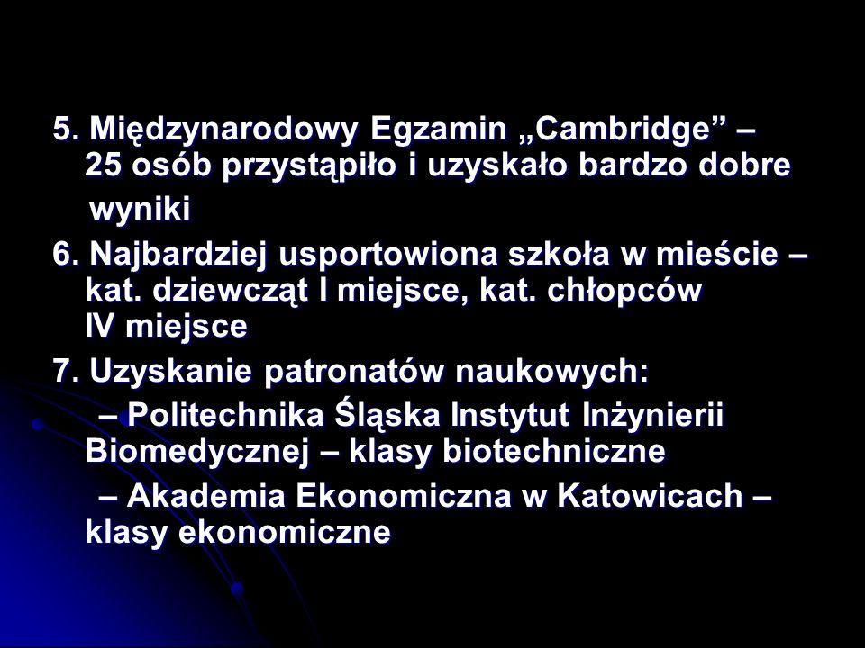 5.Międzynarodowy Egzamin Cambridge – 25 osób przystąpiło i uzyskało bardzo dobre wyniki wyniki 6.