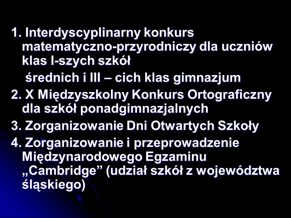 5.Mistrzostwa Bytomia w siatkówce dziewcząt 6. Mistrzostwa Bytomia w tenisie stołowym dziewcząt 7.