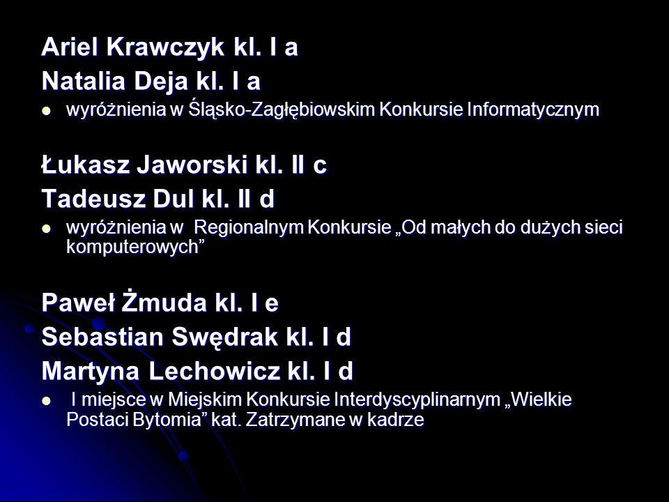 Ariel Krawczyk kl.I a Natalia Deja kl.