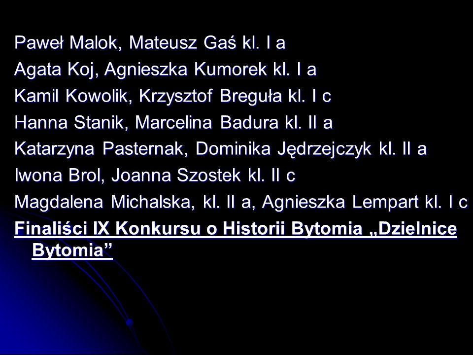 Paweł Malok, Mateusz Gaś kl.I a Agata Koj, Agnieszka Kumorek kl.