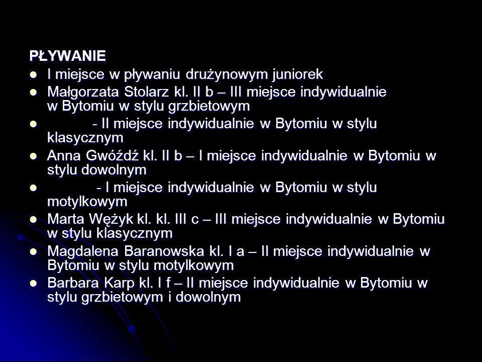 PŁYWANIE I miejsce w pływaniu drużynowym juniorek I miejsce w pływaniu drużynowym juniorek Małgorzata Stolarz kl.