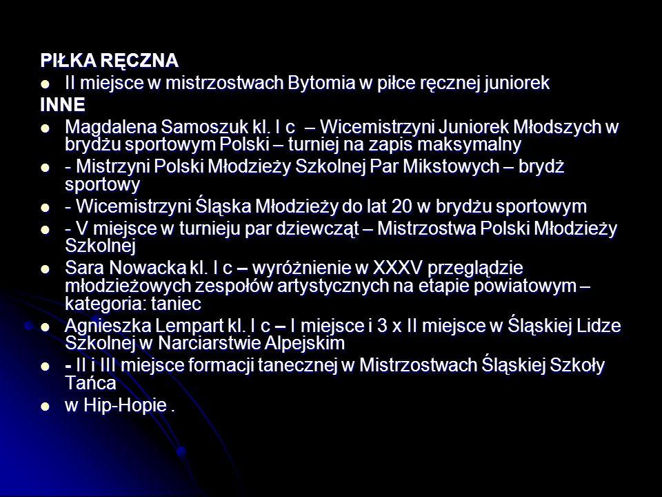 PIŁKA RĘCZNA II miejsce w mistrzostwach Bytomia w piłce ręcznej juniorek II miejsce w mistrzostwach Bytomia w piłce ręcznej juniorekINNE Magdalena Samoszuk kl.