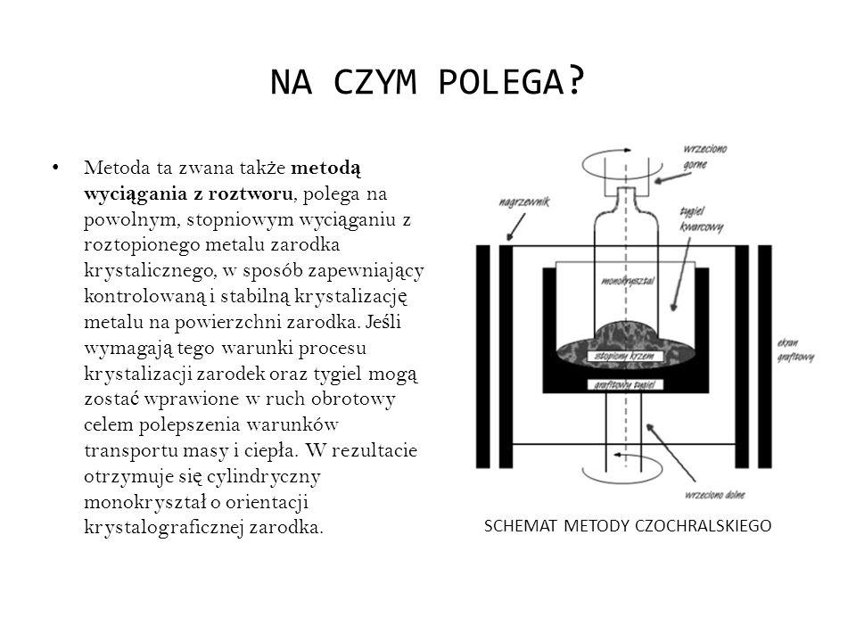 NA CZYM POLEGA ? Metoda ta zwana tak ż e metod ą wyci ą gania z roztworu, polega na powolnym, stopniowym wyci ą ganiu z roztopionego metalu zarodka kr