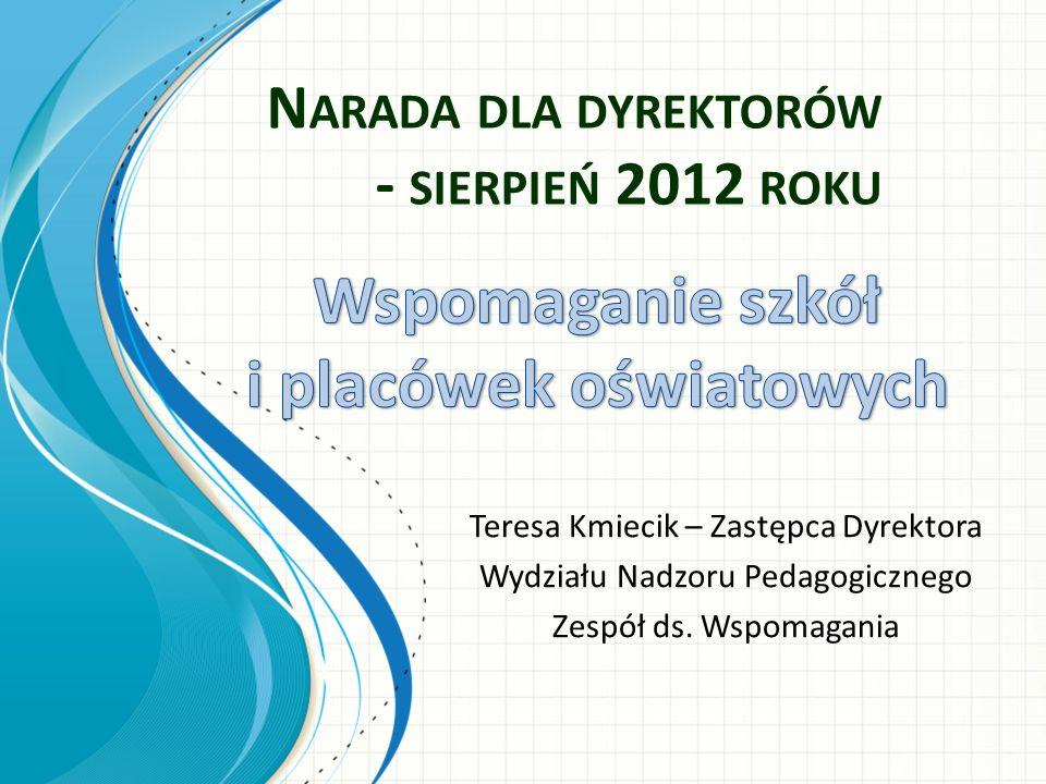 N ARADA DLA DYREKTORÓW - SIERPIEŃ 2012 ROKU Teresa Kmiecik – Zastępca Dyrektora Wydziału Nadzoru Pedagogicznego Zespół ds. Wspomagania