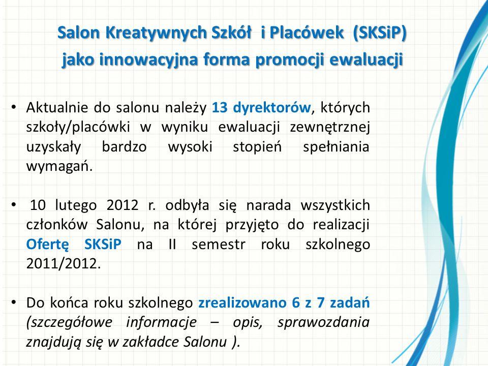 Salon Kreatywnych Szkół i Placówek (SKSiP) jako innowacyjna forma promocji ewaluacji Aktualnie do salonu należy 13 dyrektorów, których szkoły/placówki w wyniku ewaluacji zewnętrznej uzyskały bardzo wysoki stopień spełniania wymagań.