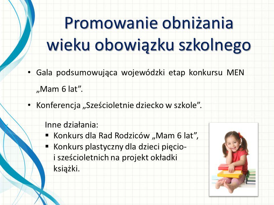 Promowanie obniżania wieku obowiązku szkolnego Gala podsumowująca wojewódzki etap konkursu MEN Mam 6 lat. Konferencja Sześcioletnie dziecko w szkole.
