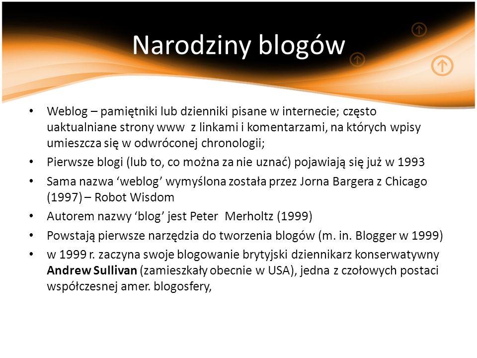 Narodziny blogów Weblog – pamiętniki lub dzienniki pisane w internecie; często uaktualniane strony www z linkami i komentarzami, na których wpisy umie