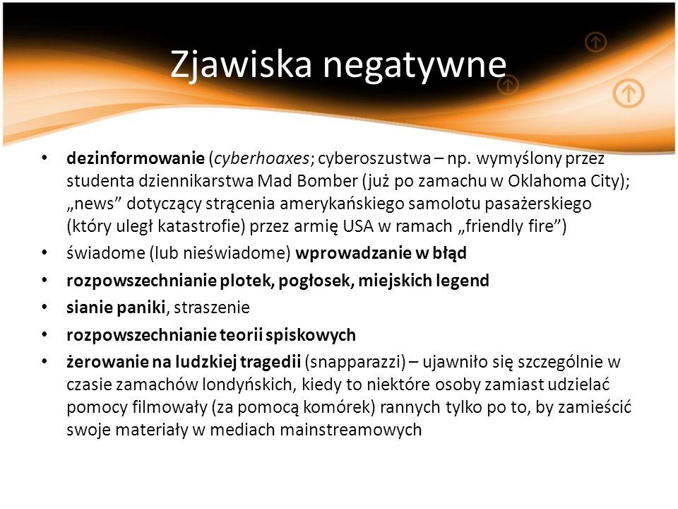 Zjawiska negatywne dezinformowanie (cyberhoaxes; cyberoszustwa – np. wymyślony przez studenta dziennikarstwa Mad Bomber (już po zamachu w Oklahoma Cit