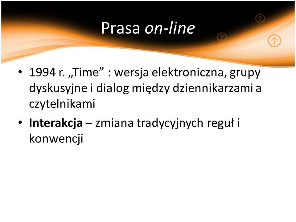 Prasa on-line 1994 r. Time : wersja elektroniczna, grupy dyskusyjne i dialog między dziennikarzami a czytelnikami Interakcja – zmiana tradycyjnych reg