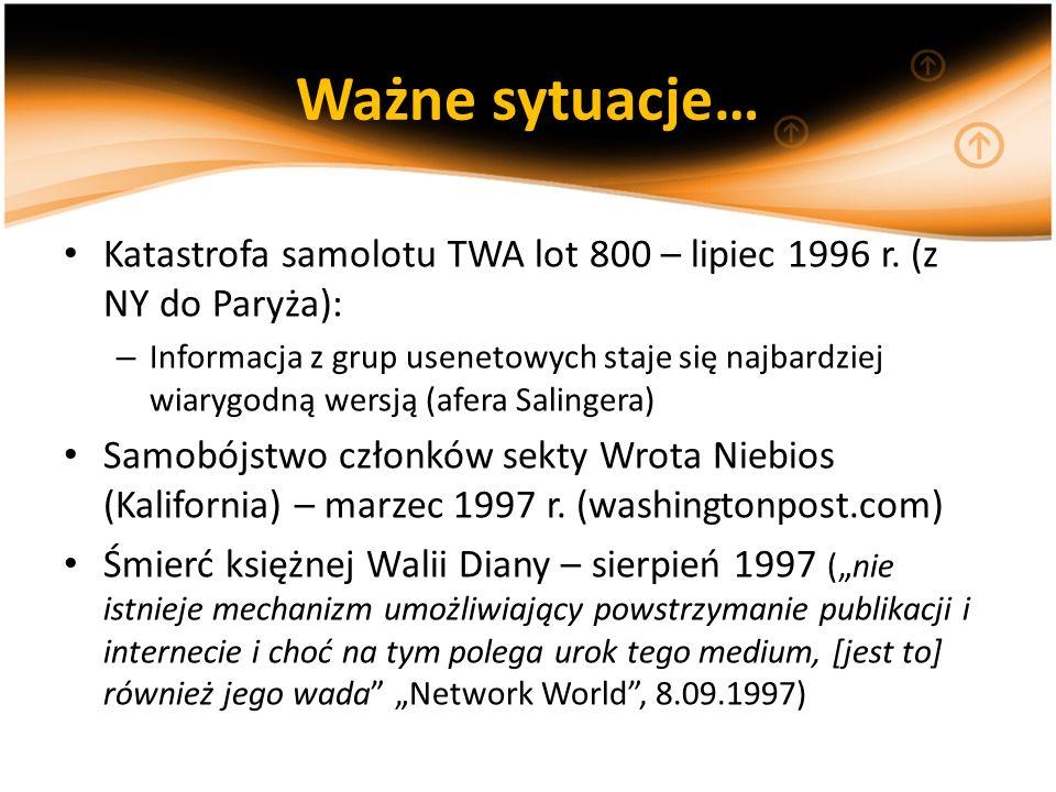 Ważne sytuacje… Katastrofa samolotu TWA lot 800 – lipiec 1996 r. (z NY do Paryża): – Informacja z grup usenetowych staje się najbardziej wiarygodną we