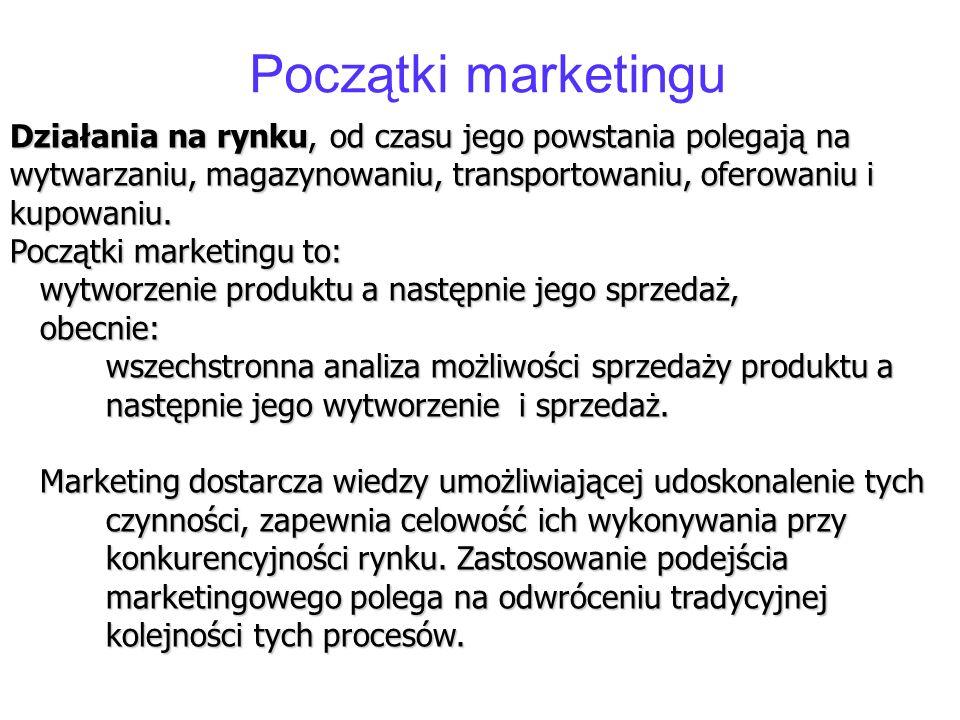 Początki marketingu Działania na rynku, od czasu jego powstania polegają na wytwarzaniu, magazynowaniu, transportowaniu, oferowaniu i kupowaniu. Począ
