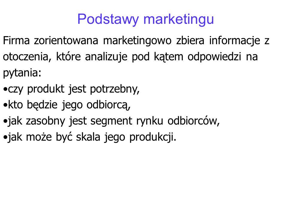 Podstawy marketingu Firma zorientowana marketingowo zbiera informacje z otoczenia, które analizuje pod kątem odpowiedzi na pytania: czy produkt jest p