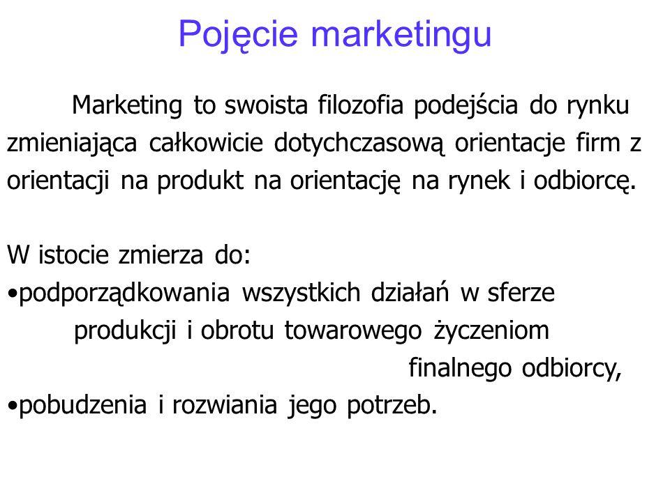 Pojęcie marketingu Marketing to swoista filozofia podejścia do rynku zmieniająca całkowicie dotychczasową orientacje firm z orientacji na produkt na o