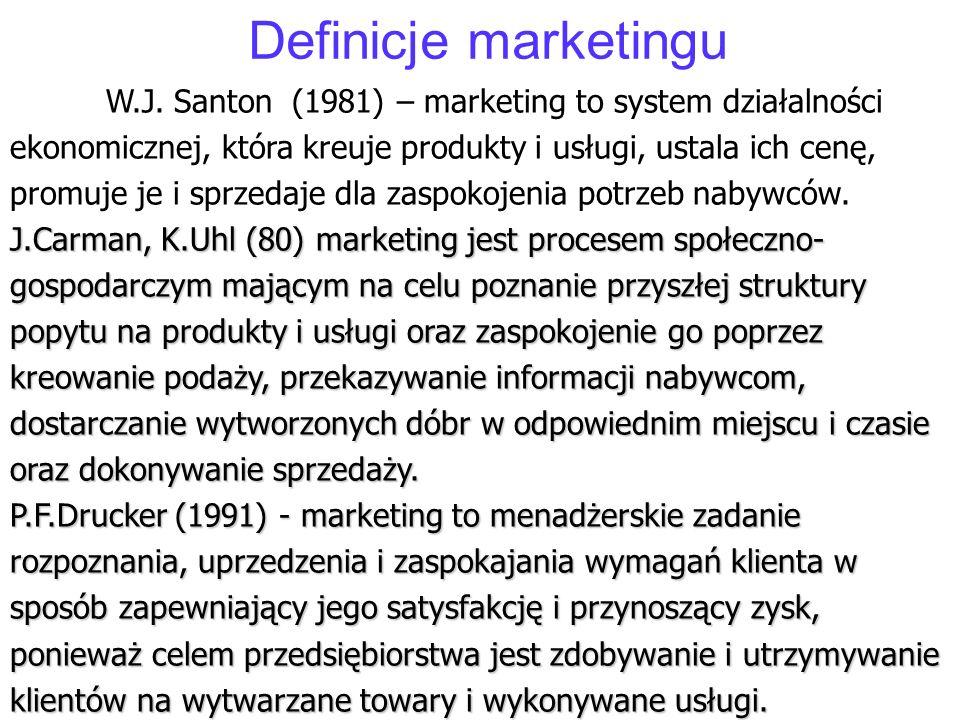 Definicje marketingu J.Carman, K.Uhl (80) marketing jest procesem społeczno- gospodarczym mającym na celu poznanie przyszłej struktury popytu na produ