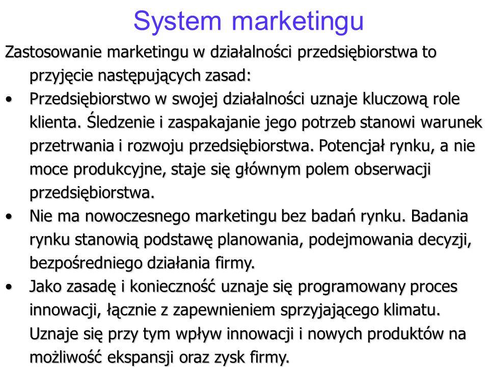 System marketingu Zastosowanie marketingu w działalności przedsiębiorstwa to przyjęcie następujących zasad: Przedsiębiorstwo w swojej działalności uzn