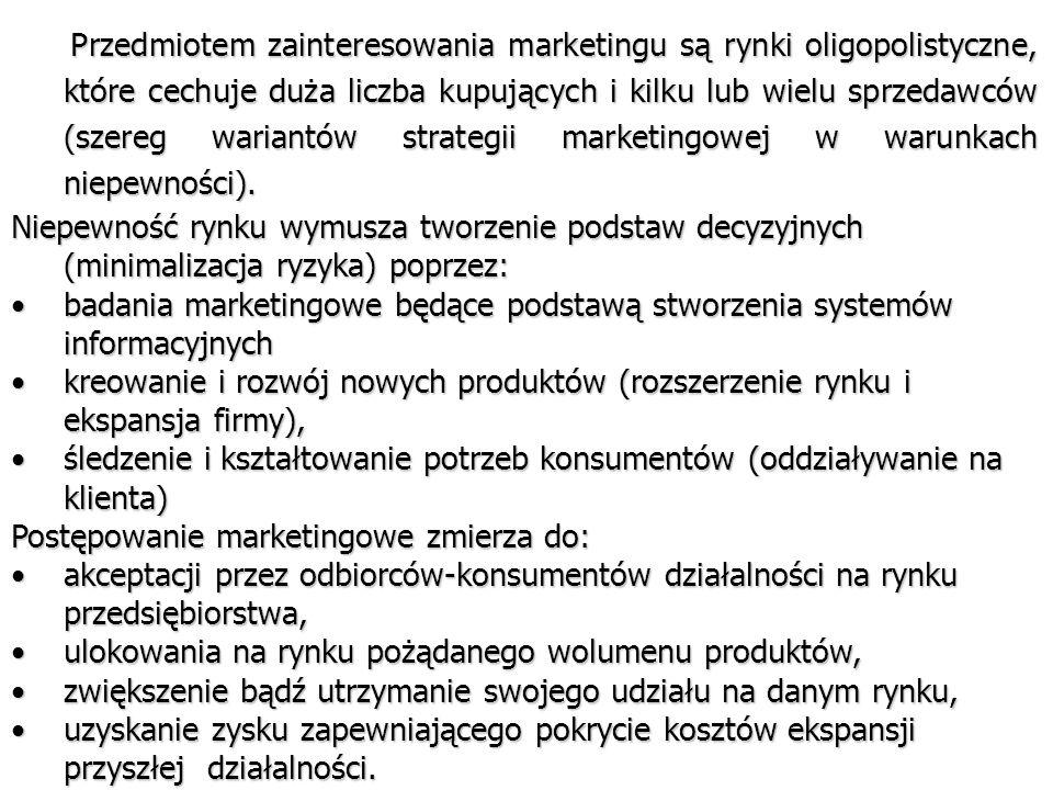 Przedmiotem zainteresowania marketingu są rynki oligopolistyczne, które cechuje duża liczba kupujących i kilku lub wielu sprzedawców (szereg wariantów