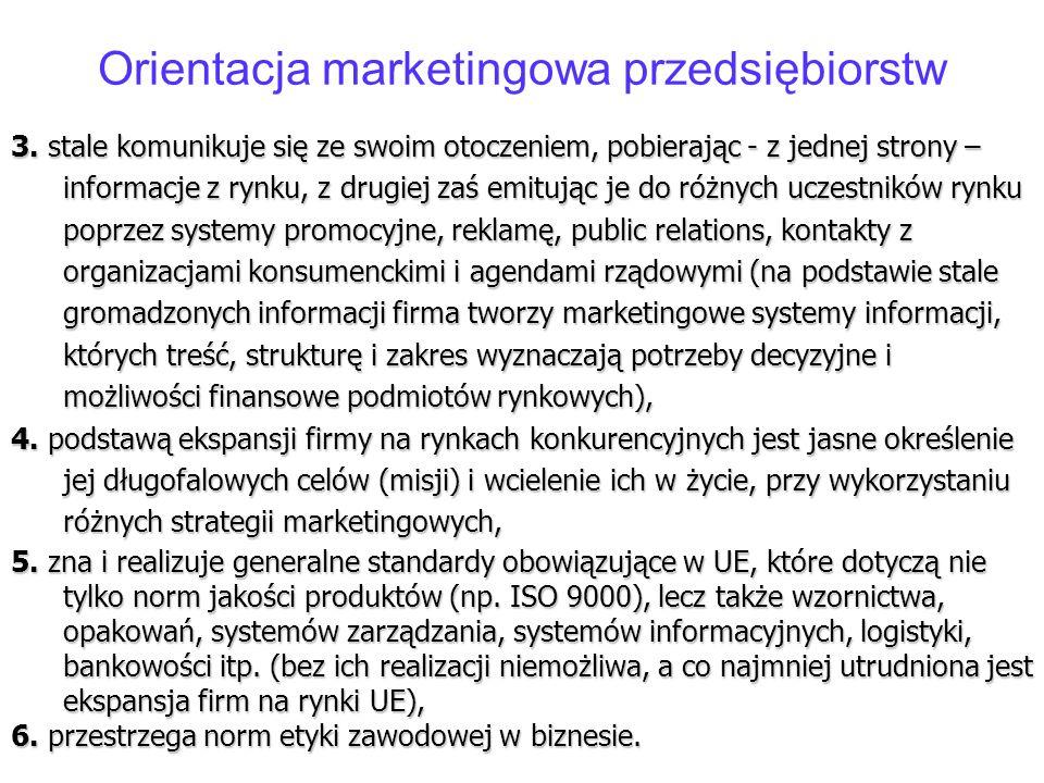 Orientacja marketingowa przedsiębiorstw 3. stale komunikuje się ze swoim otoczeniem, pobierając - z jednej strony – informacje z rynku, z drugiej zaś