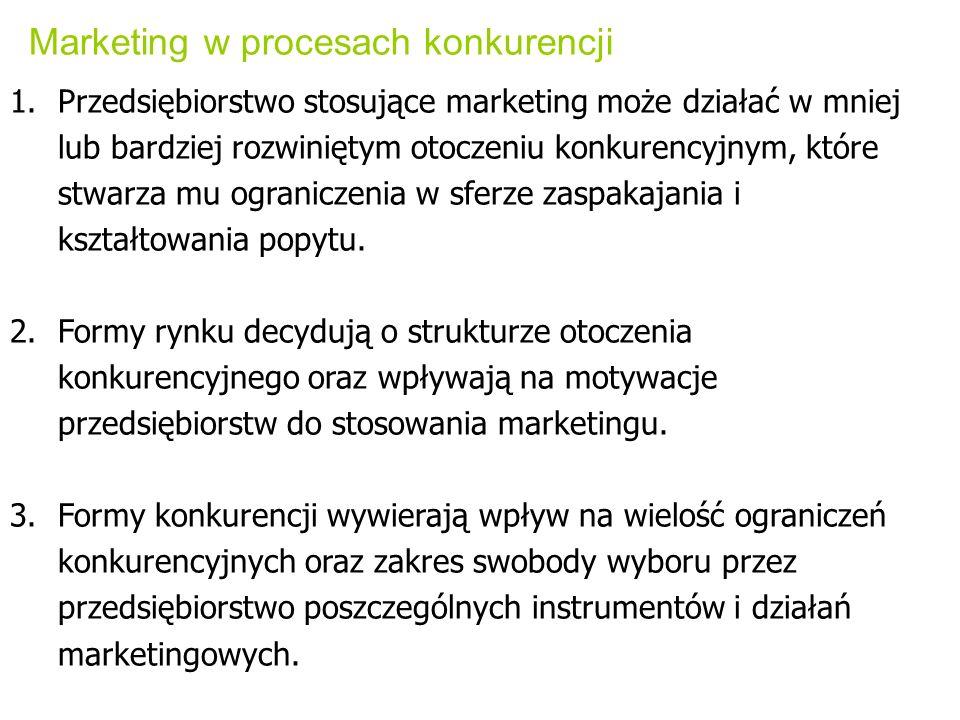 Marketing w procesach konkurencji 1.Przedsiębiorstwo stosujące marketing może działać w mniej lub bardziej rozwiniętym otoczeniu konkurencyjnym, które