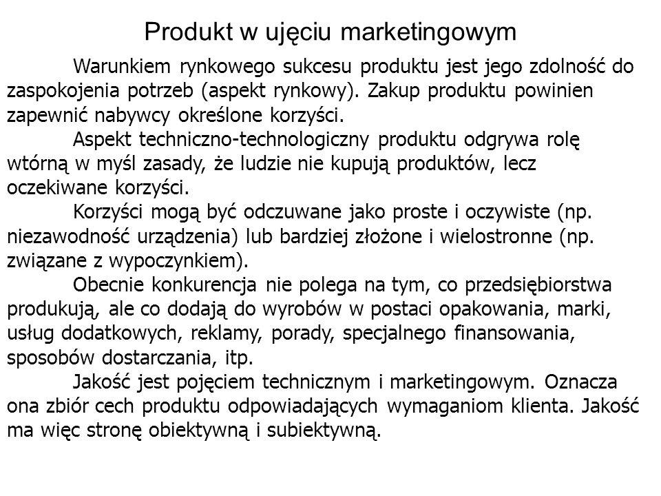 Produkt w ujęciu marketingowym Warunkiem rynkowego sukcesu produktu jest jego zdolność do zaspokojenia potrzeb (aspekt rynkowy). Zakup produktu powini