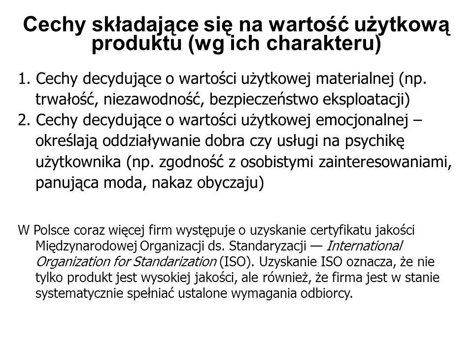 Cechy składające się na wartość użytkową produktu (wg ich charakteru) 1. Cechy decydujące o wartości użytkowej materialnej (np. trwałość, niezawodność