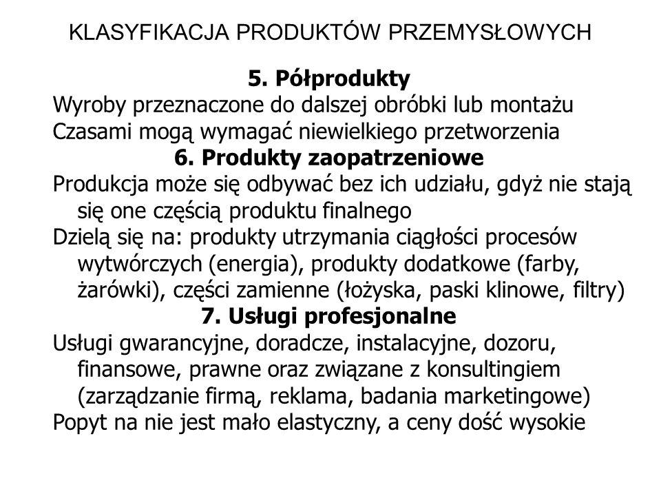KLASYFIKACJA PRODUKTÓW PRZEMYSŁOWYCH 5. Półprodukty Wyroby przeznaczone do dalszej obróbki lub montażu Czasami mogą wymagać niewielkiego przetworzenia