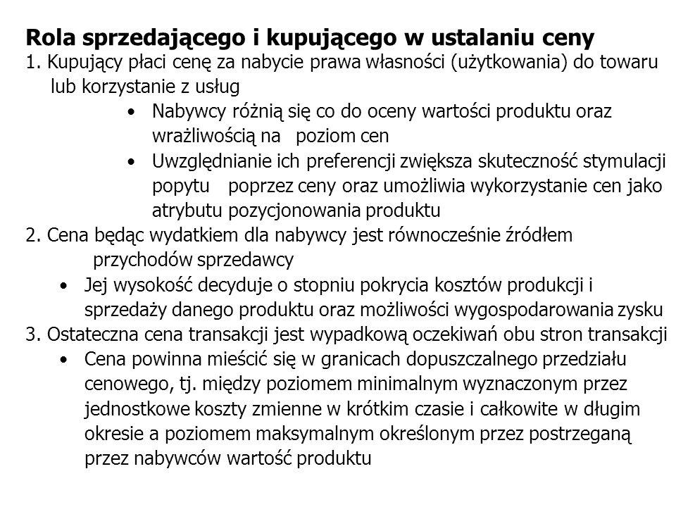Rola sprzedającego i kupującego w ustalaniu ceny 1. Kupujący płaci cenę za nabycie prawa własności (użytkowania) do towaru lub korzystanie z usług Nab