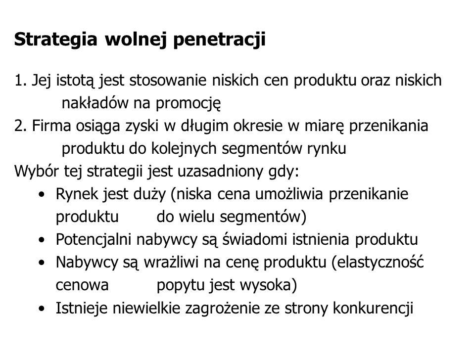 Strategia wolnej penetracji 1.Jej istotą jest stosowanie niskich cen produktu oraz niskich nakładów na promocję 2.Firma osiąga zyski w długim okresie