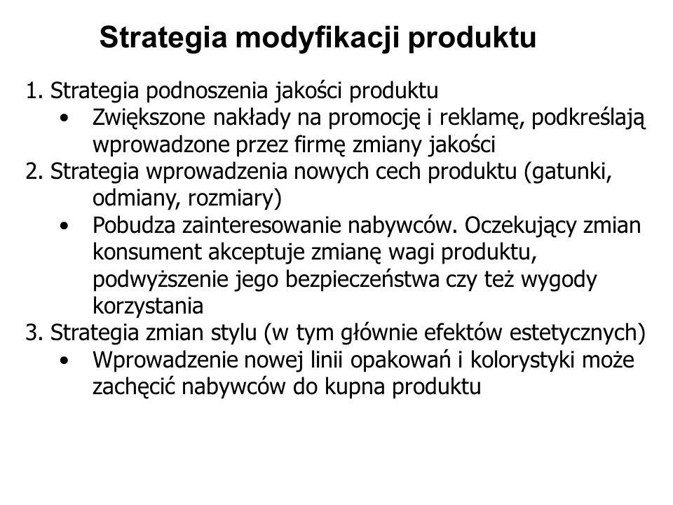 Strategia modyfikacji produktu 1.Strategia podnoszenia jakości produktu Zwiększone nakłady na promocję i reklamę, podkreślają wprowadzone przez firmę