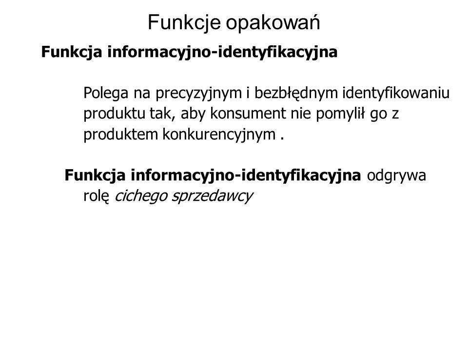 Funkcje opakowań Funkcja informacyjno-identyfikacyjna Polega na precyzyjnym i bezbłędnym identyfikowaniu produktu tak, aby konsument nie pomylił go z