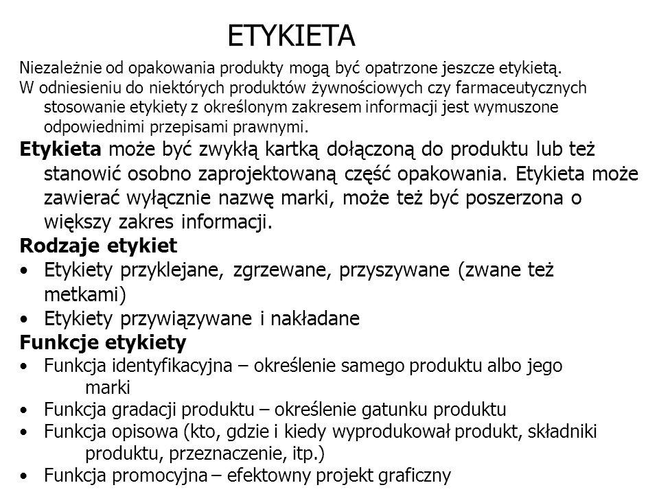 ETYKIETA Niezależnie od opakowania produkty mogą być opatrzone jeszcze etykietą. W odniesieniu do niektórych produktów żywnościowych czy farmaceutyczn