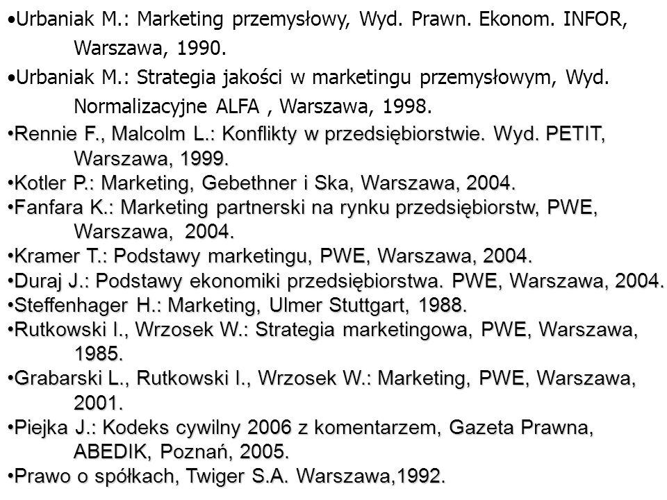 Urbaniak M.: Marketing przemysłowy, Wyd. Prawn. Ekonom. INFOR, Warszawa, 1990. Urbaniak M.: Strategia jakości w marketingu przemysłowym, Wyd. Normaliz