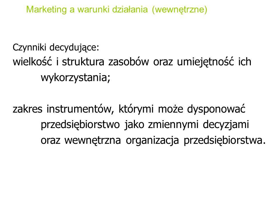 Marketing a warunki działania (wewnętrzne) Czynniki decydujące: wielkość i struktura zasobów oraz umiejętność ich wykorzystania; zakres instrumentów,
