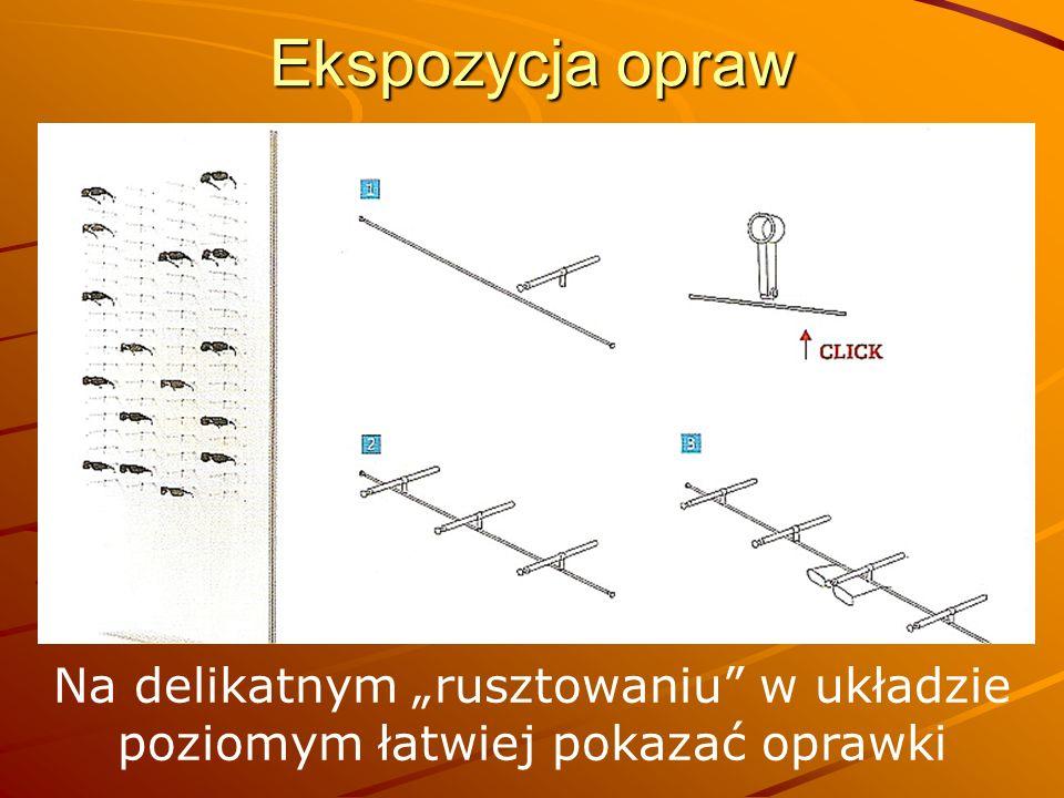 Ekspozycja opraw Na delikatnym rusztowaniu w układzie poziomym łatwiej pokazać oprawki