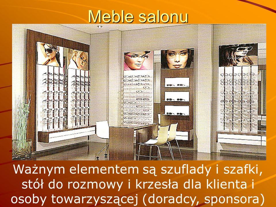 Meble salonu Ważnym elementem są szuflady i szafki, stół do rozmowy i krzesła dla klienta i osoby towarzyszącej (doradcy, sponsora)
