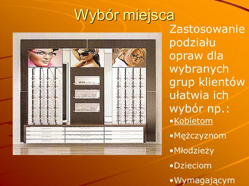 Wybór miejsca Zastosowanie podziału opraw dla wybranych grup klientów ułatwia ich wybór np.: Kobietom Mężczyznom Młodzieży Dzieciom Wymagającym