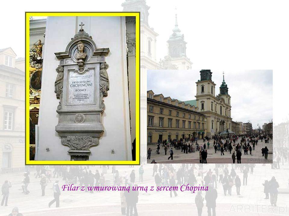 Filar z wmurowaną urną z sercem Chopina