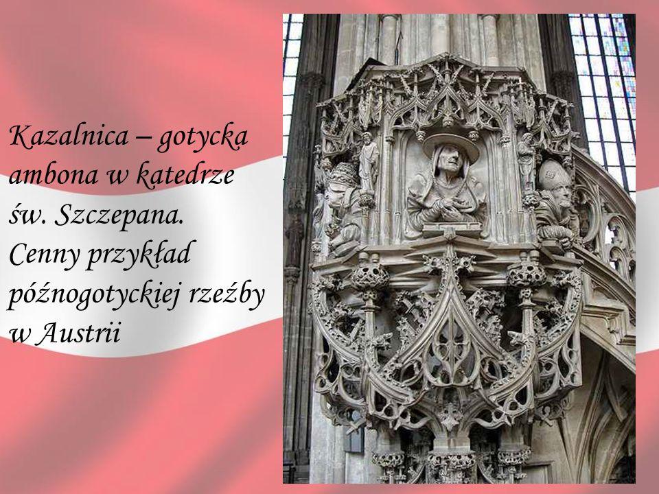 Kazalnica – gotycka ambona w katedrze św. Szczepana. Cenny przykład późnogotyckiej rzeźby w Austrii