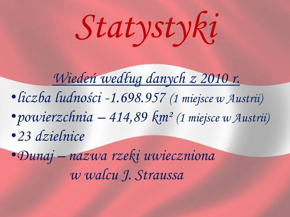 Statystyki Wiedeń według danych z 2010 r. liczba ludności -1.698.957 (1 miejsce w Austrii) powierzchnia – 414,89 km² (1 miejsce w Austrii) 23 dzielnic